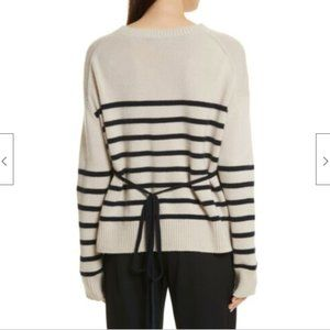 Vince Striped Boxy 100% Cashmere Crew Sweater